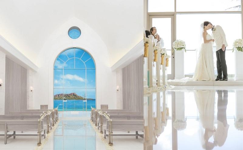 ハワイ・オアフ島:青い海とダイヤモンドヘッドの眺望の美しさをより一層強調するチャペルへ