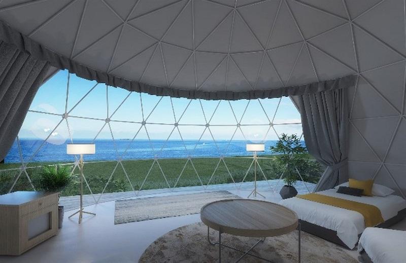 沖縄・伊江島:ビーチでグランピング!沖縄初のドームテント、1日1組限定サービス開始
