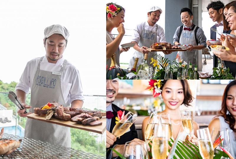 沖縄・瀬長島:海に囲まれた絶景レストランのBBQでリゾートウェディングを。